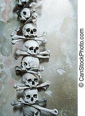 köztársaság, kutna, hora, csont, koponya, játékkockák, ...