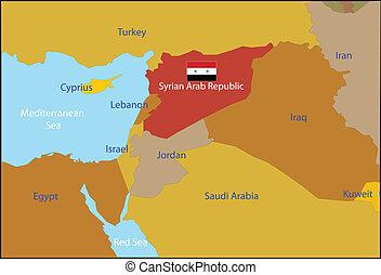 köztársaság, szír, arab, map.