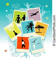 közzétesz, film, kollázs, keret, photos., template., -e