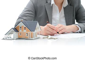 køb, aftalen, by, hus