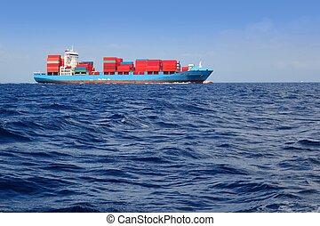 købmand, last, afsejlingen, blåt ocean, hav, skib