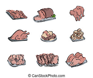 kød, skære, iconerne