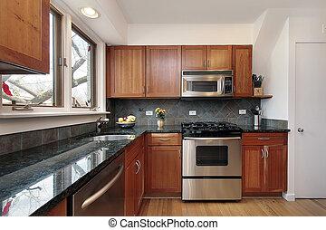 køkken, hos, kirsebær, træ, cabinetry