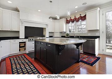 køkken, ind, moderne, hjem