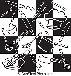 køkken, redskaberne, checkerboard