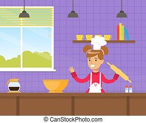køkken, vektor, barn, illustration, smile pige, cartoon, madlavning, bage småkager, cute