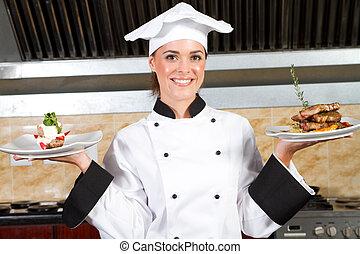 køkkenchef, aflægger, mad, ind, køkken