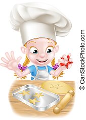 køkkenchef, cartoon, bagning, pige