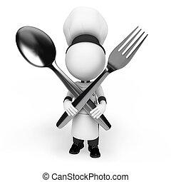 køkkenchef, hvid, 3, folk