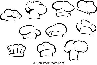 køkkenchef, hvid, hatte, caps