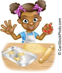 køkkenchef, liden, madlavning, cartoon, pige