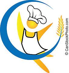 køkkenchef, logo, vektor, figur