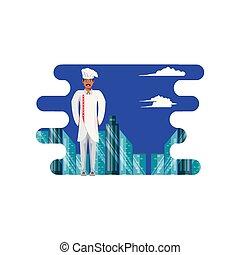 køkkenchef, professionel, cityscape