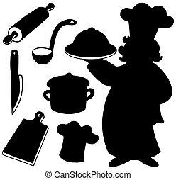 køkkenchef, silhuetter, samling