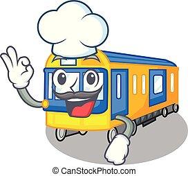 køkkenchef, undergrundsbane tog, legetøj, ind form, mascot