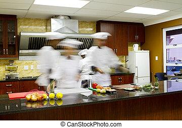 køkkenchefer, madlavning, ind, køkken