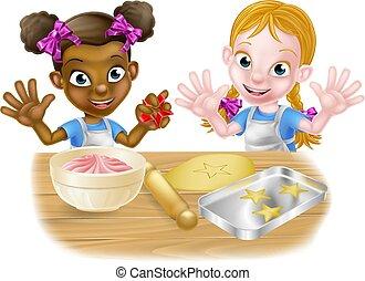 køkkenchefer, madlavning, lille pige, cartoon