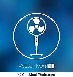 kølig, tegn, vektor, turbine, omdrejning, vind, ikon