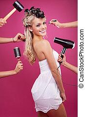 køn pige, proces, makeup, unge