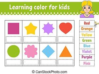 kønne, children., farve, vektor, morsom, pictures., style., aktivitet, undervisning, kids., worksheet., lærdom, cartoon, character., illustration., gåde, udvikle, girl., side, isoleret