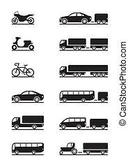 køretøjene, vej, iconerne