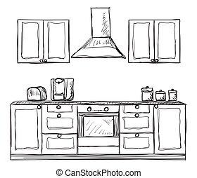 Schrank gezeichnet  Geschirrschrank, hand, regale, kueche , gezeichnet.... Vektoren ...