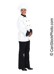 küchenchef, amerikanische , glücklich, weiblicher afrikaner