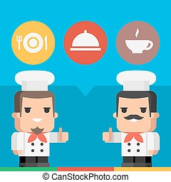 küchenchef, ausstellung, daumen hoch, begriff