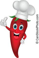 küchenchef, chili, daumen, karikatur, auf
