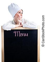 küchenchef, denken, über, mittagstisch, menükarte