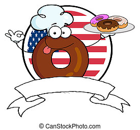 küchenchef, donut, zeichen, karikatur