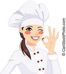 küchenchef, frau, gesturing, stimmen zeichen
