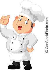 küchenchef, geben, daumen, karikatur, auf