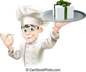 küchenchef, geben, geschenk
