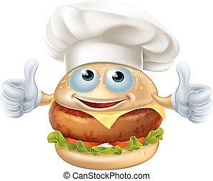küchenchef, hamburger, maskottchen, karikatur, characte