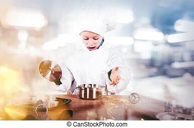 küchenchef, invents, junger, kueche