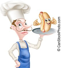 küchenchef, karikatur, hotdog, auf, daumen