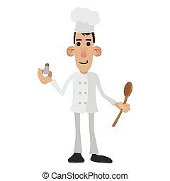 küchenchef, karikatur, ikone