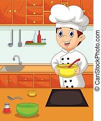 küchenchef, karikatur, th, bringen, lustiges, schüssel