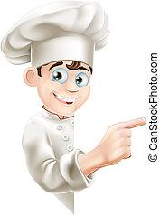 küchenchef, karikatur, zeigen, zeichen