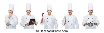 küchenchef, koch, mann, satz, glücklich