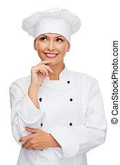 küchenchef, lächeln, weibliche , träumende