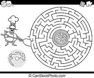 küchenchef, labyrinth, pizza, farbe, buch
