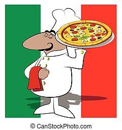 küchenchef, lustiges, koch, pizza