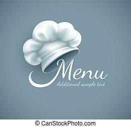 küchenchef, menükarte, kappe, logo
