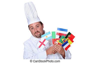 küchenchef, mit, national, flaggen