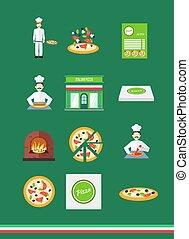 küchenchef, pizzeria, satz, pizza, heiligenbilder