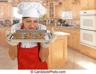 küchenchef, pl�tzchen, junger, weibliche
