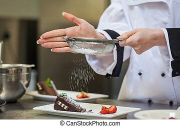 küchenchef, platte, vollenden, weibliche , nachtisch