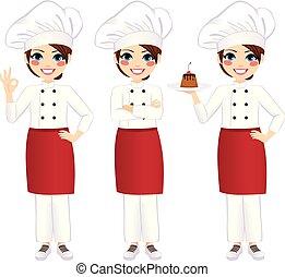 küchenchef, professionell, weibliche , stehende